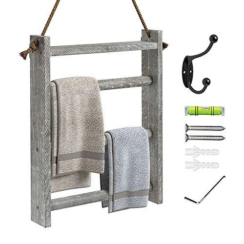 Greenstell - Toallero de madera rústica para colgar en la pared, para baño, cocina, decoración de casa de campo, escalera, con cuerda y kits para colgar, tamaño pequeño, color gris