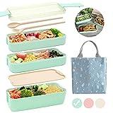 Ozazuco Bento Box Japanese Lunch Box, 3-In-1 Compartment, Wheat Straw, Leak-proof Eco-Friendly Bento...