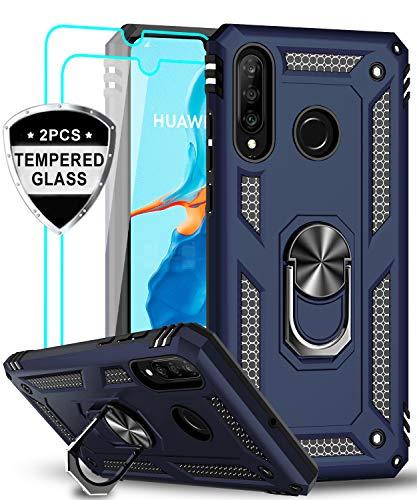 LeYi für Huawei P30 Lite Hülle P30 Lite New Edition Handyhülle mit Panzerglas Schutzfolie(2 Stück),360 Grad Ring Halter Handy Hüllen TPU Cover Bumper Case Schutzhülle für Huawei P30 Lite 2020 Blau