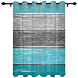 Aqua Barn Wood Board Gray Ombre Stripes Window Curtains with Grommets Kitchen Drapes, Teal Grey Gradient 2 Panels Window Treatment Drapes for Living Room/Bathroom/Office 55' W x 39' L