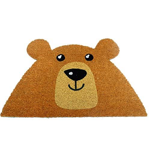 KOOK TIME Koko Doormats Felpudo para Entrada de Casa Original, Modelo Oso - Bear, Fibra de Coco y PVC, 49x74cm …