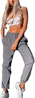 Reflektierende Hosen für Frauen Pure Color Slim Fit Hip Hop Tanzshow Party Nacht Jogger Baggy Stage Performance Hose