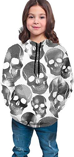Niños niñas Sudaderas con Capucha de Lana Black White Skull #2 Bolsillos Sudaderas Sudaderas con Capucha de Lana 7-20Y