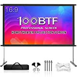 Projector Screen with Stand, 135 inch Premium 3 Layers PVC Movie Screen, 4K HD 16:9 Outdoor/Indoor Foldable Anti-Crease Front Projector Screen for Home Garden Theater Backyard (135 Inch)