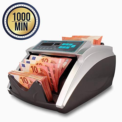 Contador de Billetes y Detector de Dinero Falso con Verificacion de Doble Autenticidad | Velocidad de 1000 Billetes por Minuto de todas las Divisas con Pantalla LCD |
