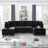 COODENKEY Modular Sectional Sofa Convertible U Shaped Couch with Storage Seat and Ottomans for Living Room Apartment, Velvet Fabric, Black