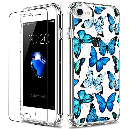LUHOURI iPhone SE 2020 Case,iPhone 8 Case,iPhone 7 Case with Screen Protector,Clear with Floral Flower for Girls Women,Protective Phone Case for iPhone 7 /iPhone 8/ iPhone SE2 Blue Butterflies