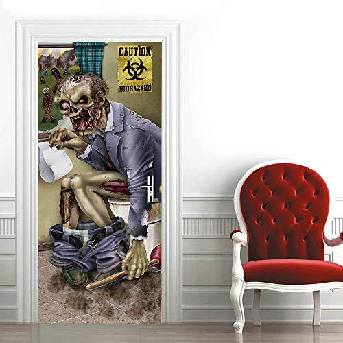 Etiqueta de La Puerta 3D Víspera de Todos los Santos PVC Etiqueta de La Pared para la Decoración del Hogar Plantilla de la Pared para la Sala de Estar Dormitorio Cocina Fondo