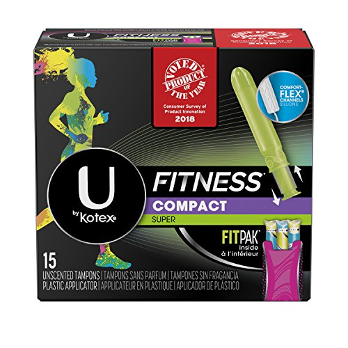 U by Kotex Unscented Super Absorbency Fitness Tampons with Fit Pak, 15 Count