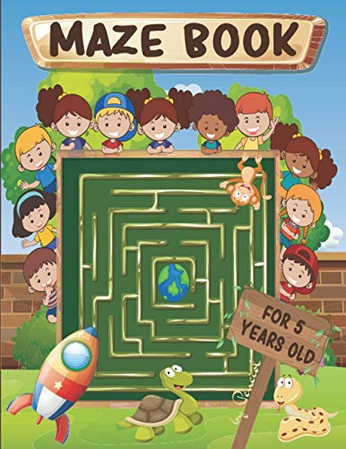 Maze Book for 5 Years Old: Challenging maze puzzle book for kids ages 5 | Kindergarten maze book
