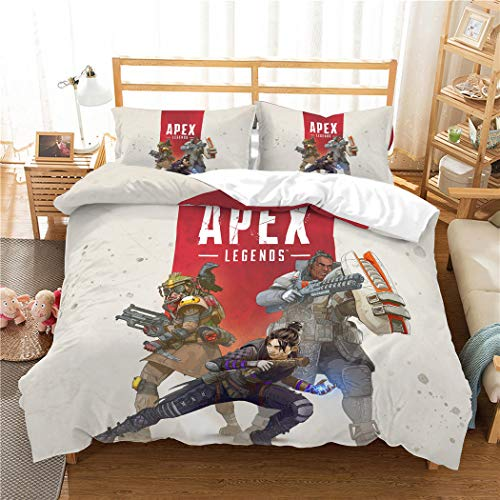 DOLPHIN'S TEXTILE Duvet Cover Set 3D APEX Legends Printing Microfiber Hypoallergenic beding Set for Kids Teens and Adults Art beding Collection,UStwin172x218cm