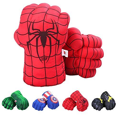 DDGOJUME Guanti Spider, 1 Paio di Morbidi guantoni da Boxe Spider Pugni Spider Peluche Mani di Spider Incredibili Regali in Costume (Rosso)