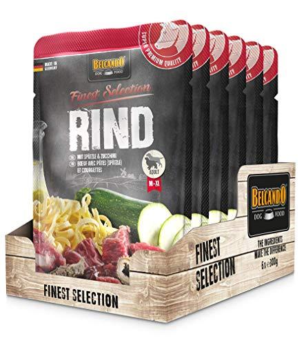Belcando Frischebeutel [6x300g Rind mit Spätzle & Zucchini] | Nassfutter für Hunde | Feuchtfutter Alleinfutter im Einzelportionsbeutel
