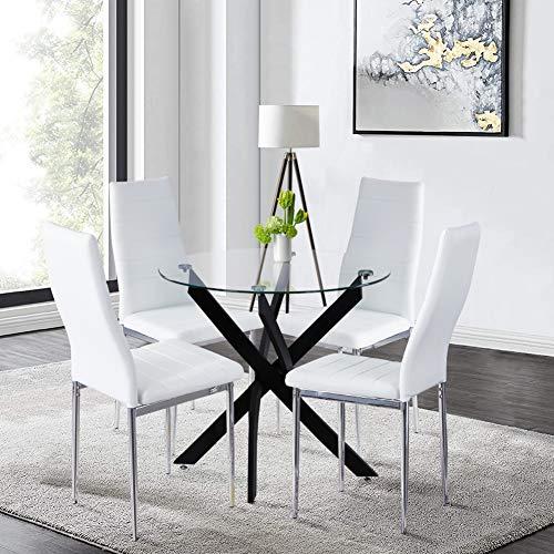 GOLDFAN Esstisch Glas und 4 Stühle Runder Tisch und Kunstleder Stuhl Kleiner Esszimmergruppe für Wohnzimmer Küche Büro,Schwarz und Weiß