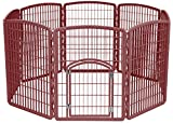 IRIS Exercise 8 Panel Pen Panel Pet Playpen with Door - 34 Inch, Brown