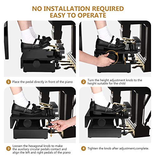 Neewer Adjustable Piano Pedal Extender Bench for Kids, 5-7.5 inches/13-19 centimeters Height Adjustable Piano Foot Pedal Extender with 2 Pedals (Black)