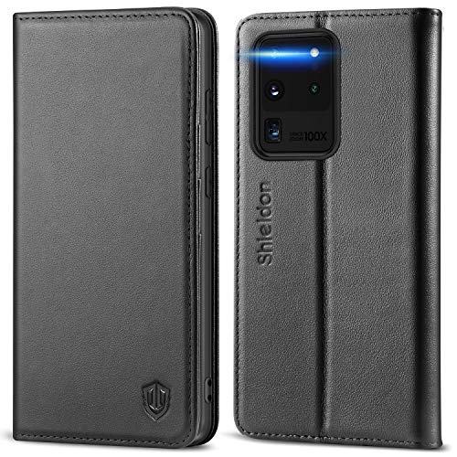SHIELDON Genuine Leather Galaxy S20 Ultra 5G Wallet Case RFID Blocking Kickstand Shockproof Magnetic Flip Cover Wallet Full Protective Book Case Compatible with Samsung Galaxy S20 Ultra (6.9