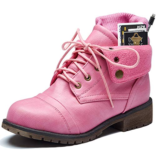 DailyShoes Womans Boots Ankle Ankle Pocket Boot Lace Up Boots Comfy Metal Buckle Heels Booties On Dress Shoes Money Wallet Tina-99 Pink Pu 5.5