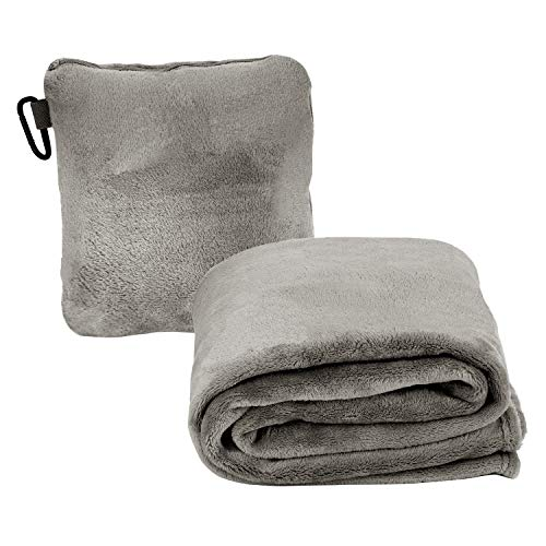 Travel Pillow Blanket for Airplanes, Premium Soft 2 in 1 Fleece Travel Blanket with Strap & Backpack Clip Foldable into Mini Small Compact Pillow for Car Seat Travel, Foam and Neck Support(Gray)