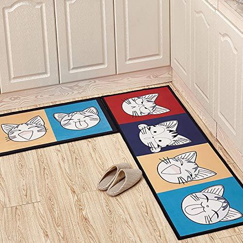THDFV Küchenmatten Set, 2 Stück rutschfeste Küchenppiche, Läufergummi-Träger dauerhafter Bodenmatte Fußmatte, maschinenwaschbar (40 * 60 cm + 40 * 120 cm / 50 * 80 + 50 * D-50X80/160cm