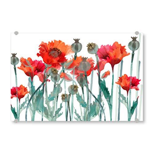 artboxONE Acrylglasbild 30x20 cm Floral Mohnfeld Bild hinter Acrylglas - Bild Blumen frühsommer klatschmohn