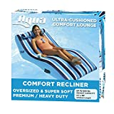 Aqua Ultra Comfort Pool Lounger with Head Pillow, Lake Raft, One 1-Person Lake-Ocean-Pool Float, Heavy Duty, X-Large, Navy/White Stripe (AZL17014P)