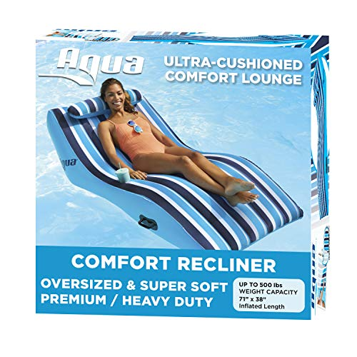 Aqua Ultra Comfort Pool Lounger with Head Pillow, Lake Raft, One 1-Person Lake-Ocean-Pool Float, Heavy Duty, X-Large, Navy White Stripe (AZL17014P)