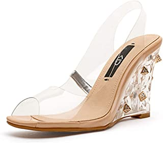 Women's Sandals Prom Party Shoes Women's High Heels Transparent High Heels Crystal Princess Shoes Leather Upholstery, Heel Height 8cm (Color : Clear, Size : 39)