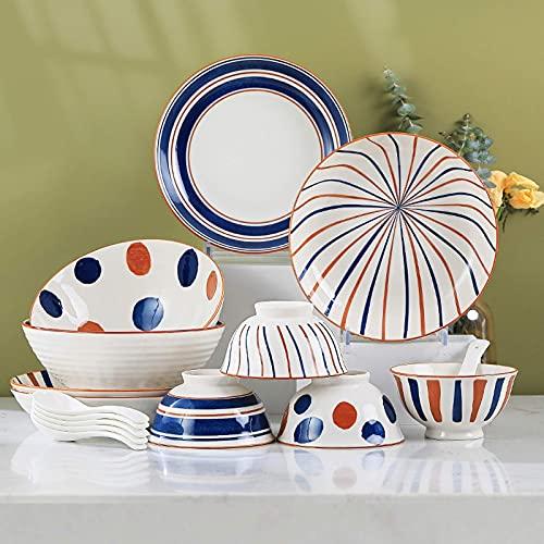 ZJZ Juegos de vajilla de cerámica, Juego de vajilla de Porcelana Retro de 24 tazones de Cereales y Juego de Platos para Carne para la Familia