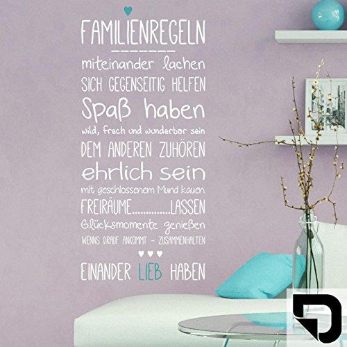 DESIGNSCAPE® Wandtattoo Familienregeln mit Herz 45 x 100 cm (B x H) Farbe 1: schwarz DW801511-S-F4
