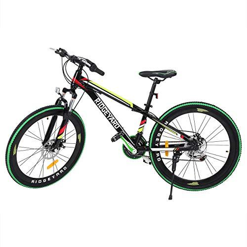 MuGuang 26 Pollici 21 velocità Bicicletta MTB Freni a Disco Mountain Bike Unisex per Adulti (Nero + Verde)