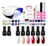 Esmalts d'Ungles Esmalts en Gel Ungles *6pcs kit Ungles *Semipermanente *Soak *off *7ml Llum Ungles 36W Assecador d'Ungles Base *Coat *Top *Coat Manicura Pedicura Kit de *Shelloloh