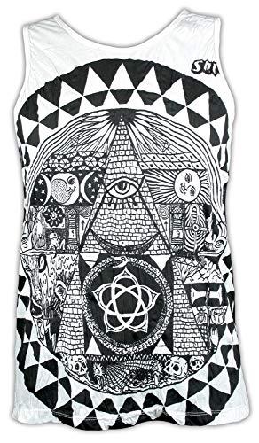 Sure Herren Tank Top - Allsehendes Auge Pyramide Gottes Illuminaten Anonymous NWO Ägypten Truther Ärmelfrei Männer Freizeit Kurzarm Muskelshirt (Weiß M)