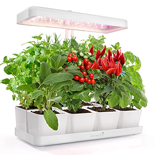 GrowLED LED Indoor Garden, Herb Garden, Kitchen Garden, Height Adjustable, 20W Grow Light, Automatic Timer, Ideal for Plant Grow Novice Or Enthusiasts, Various Plants, DIY Decoration, White