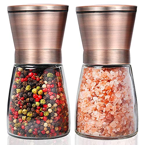 HENSHOW Koperzout- en pepermolenset, set van 2 Premium Borstel Roestvrij Staal Peperkorrels Set en Glazen Lichaam Zout en Peper Shakers met Verstelbare Keramische Grofheid