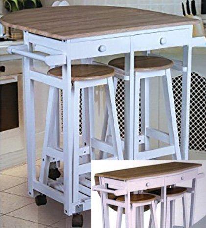Spetebo, tavolo da cucina con piano pieghevole, ruote e 2 sgabelli