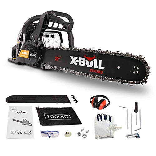 X-BULL 58cc 2-Cycle Full Crank Gas Chainsaw 20-Inch Gasoline Powered Chainsaw Handheld Anti-vibration System Cordless Gasoline Chain Saws for Cutting Wood Outdoor Garden Farm Home Use with Tool Kit