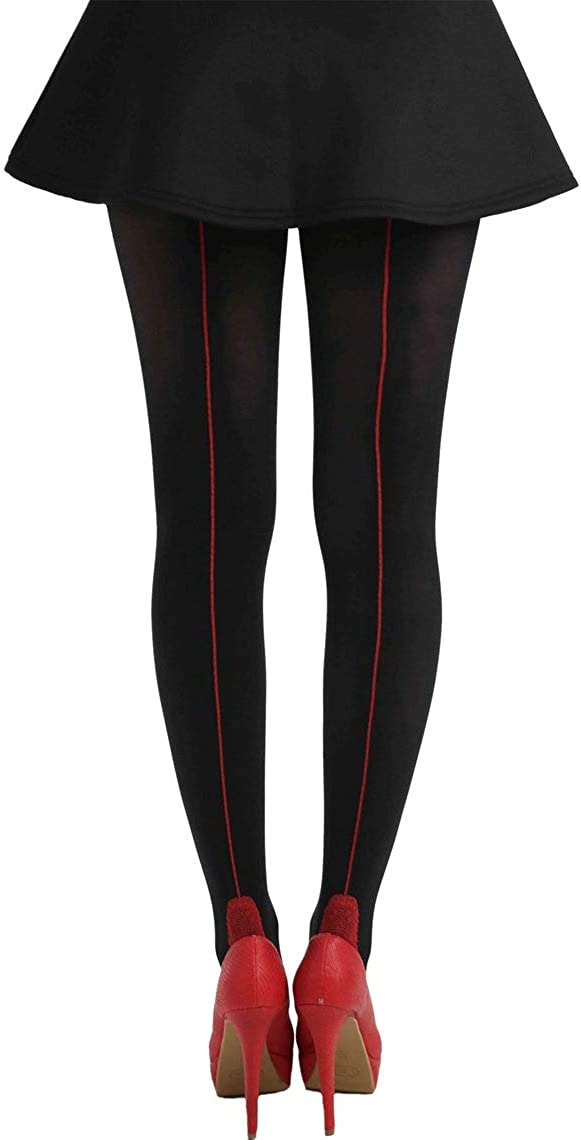 Black Red Backseam Tights For Women Malka Chic