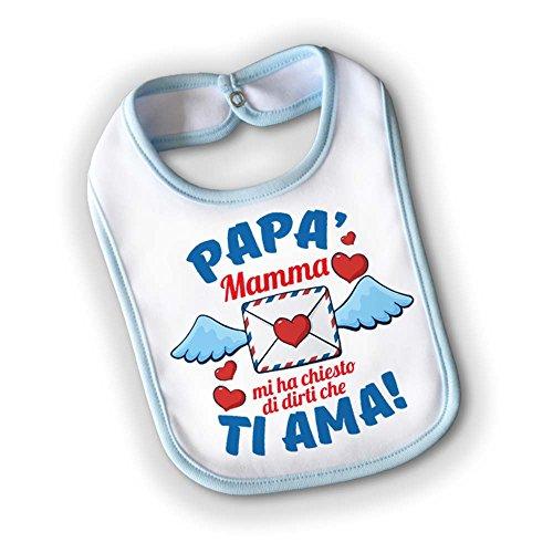 Bavetto Bavaglino Bambino Idea Regalo Bimbo Festa del Papa' Messaggio Per Mamma Small Grafica Maschietto