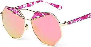 LUKEEXIN Polygon Sunglasses for Women Rimmed Sunglasses UV Protection Personality Lady's Sunglasses for Driving (Color : Golden Frame Cherry Powder)