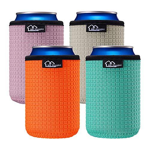 WKieason 12oz Standard Can Sleeves Insulators Sleeves Standard Can Covers 12OZ Beer Bottle Sleeves Coolers Holder Non-slip Neoprene Can Coolier Sleeves 4PC Pack (12oz standard-4pcs)