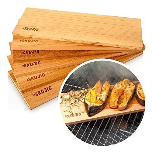 6er Packung Räucherbretter aus echten kanadischen Zedernholz - 3er oder 6er Packung - Grillbretter für volles Aroma bei Fisch Gemüse & Fleisch - BBQ Bretter Räucherplanken