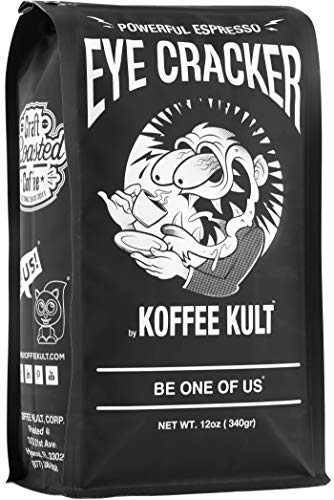 Koffee Kult Eye Cracker Espresso Beans - Bright, Bold Medium Roast with a Citrus Twist Coffee (12 Ounce)