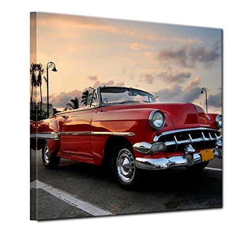 Bilderdepot24 Bild auf Leinwand | Roter Oldtimer in Havanna in 80x80 cm als Wandbild | Wand-deko Dekoration Wohnung modern Bilder | 200552