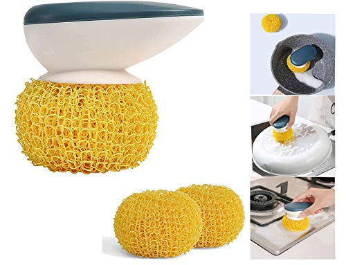 Dish Cleaning Ball Nano Fiber Scrubber Pot Pan Dish Cookware Cleaning Tools Scratch Free with Matching Handle Brush Ball,can be reused for Kitchen Bathroom Magic decontamination Cleaning Brush