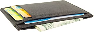 Genuine Leather Slim Front Pocket Card Case Credit Card Holder 7 Slots Wallet (Brown)