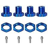 DDIRC Pro 17mm Aluminum Wheel Hex Hub Adapters and Nuts for 1/10 Traxxas E-Revo/E-Maxx/Summit/T-Maxx Monster Truck Tire (Blue)