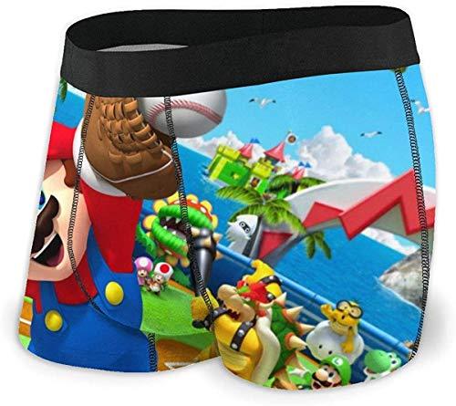 SBLB Game Super Mario Herren Unterwäsche Stretch Boxershorts für Männer Kurze Bein Unterhose Atmungsaktiv Bequeme Faser Pack Gr. L, einfarbig