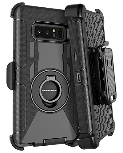 BENTOBEN Galaxy Note 8 Case Belt Clip, Heavy Duty Shockproof Kickstand Swivel Belt Clip Full Body Rugged Bumper Hybrid Holster Protective Case for Samsung Galaxy Note 8, Black