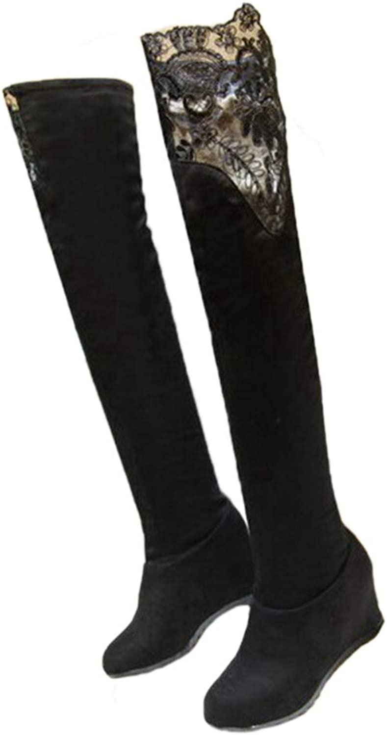 Saborz Over The Knee Boots Elastic Stretch Tube Height Round Toe lace Boots